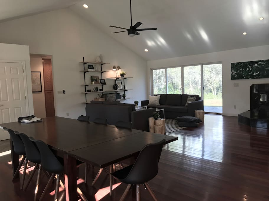 Open concept living. Dining table seats 8.