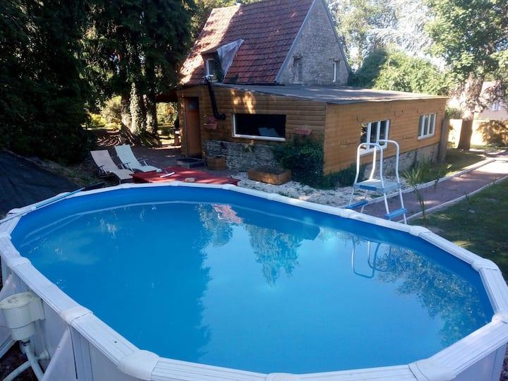 cottage piscine hors sol jacuzzi sauna hammam
