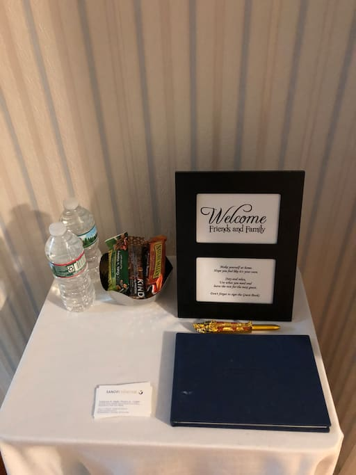 Welcome snacks and beverages