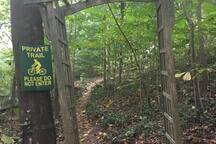 This is the private trail to the treehouse property. About 5 acres of the James River Park System is actually on the treehouse property, including about a mile of mountain biking and hiking trails.