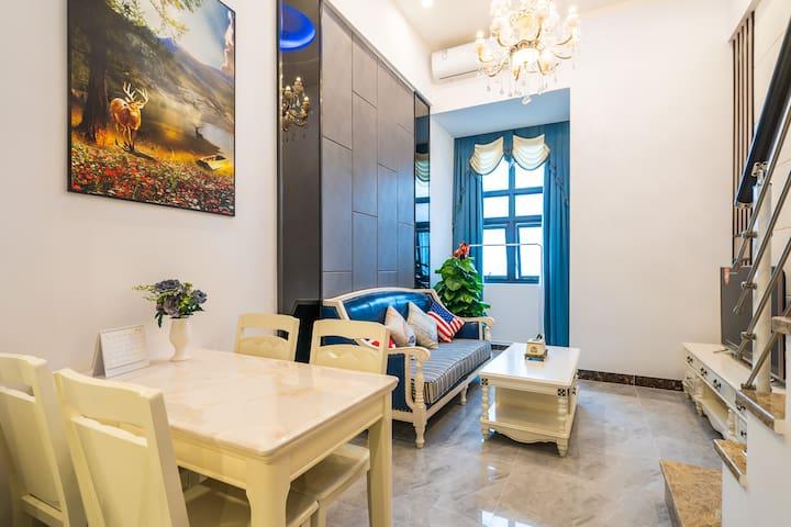 珠海欧式轻奢单床房/旺贝民宿/酒店式公寓/复式大床房