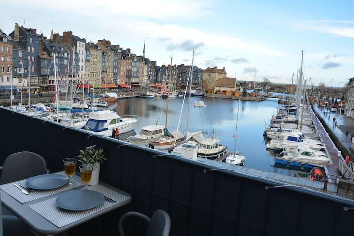 Le balcon du port -  plein centre  -  Honfleur  -