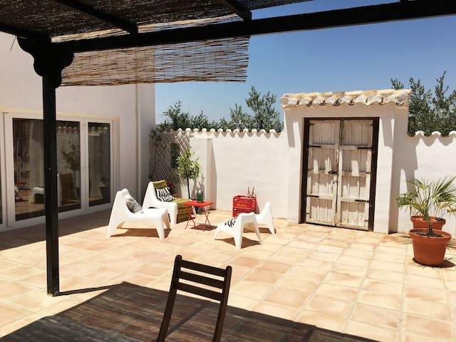 Traditional main courtyard accessed via kitchen and lounge.