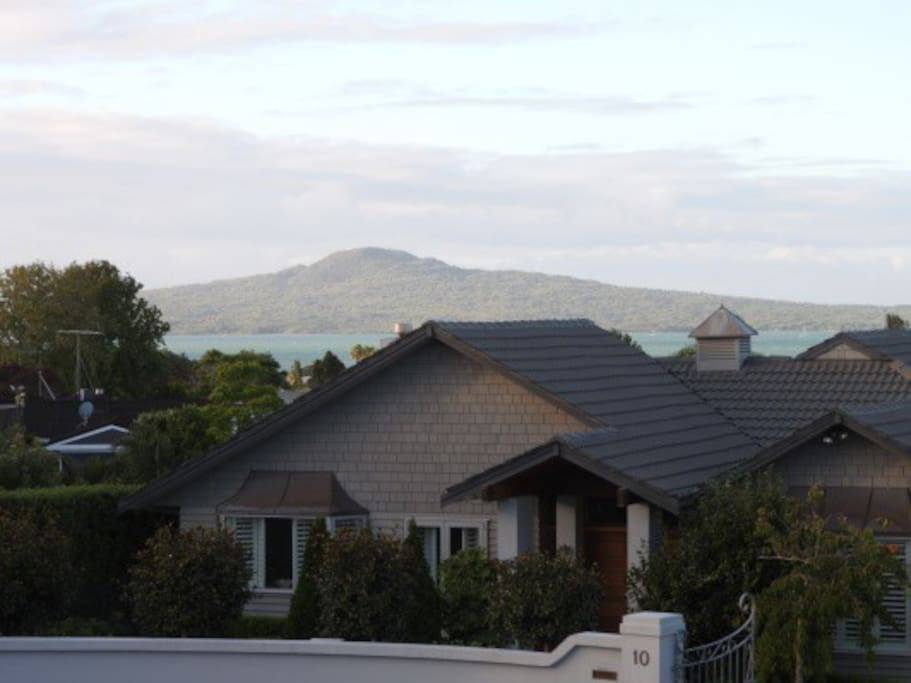 The view off our deck of Rangitoto