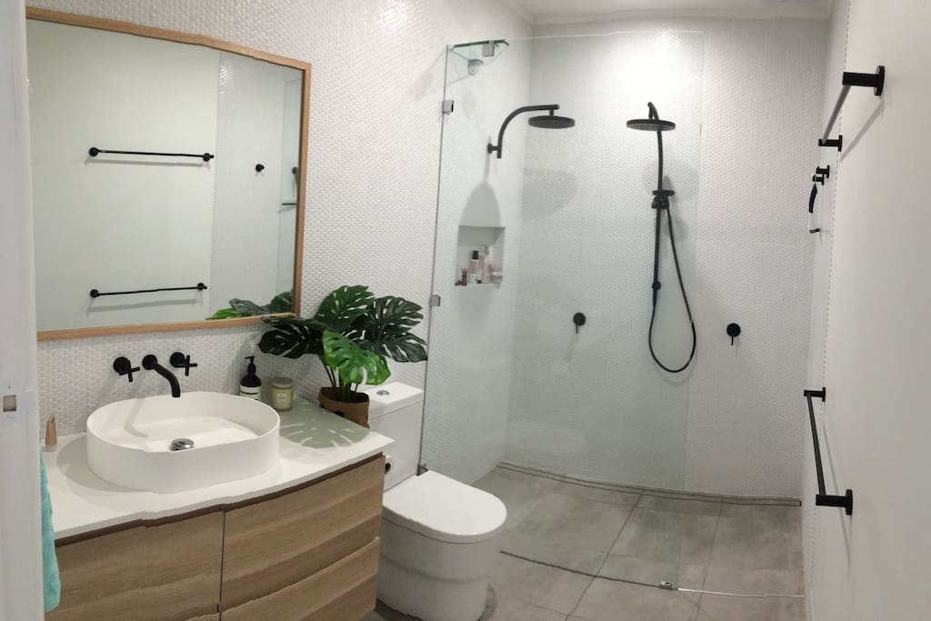 Fully renovated bathroom with double shower, toilet, vanity and basin.
