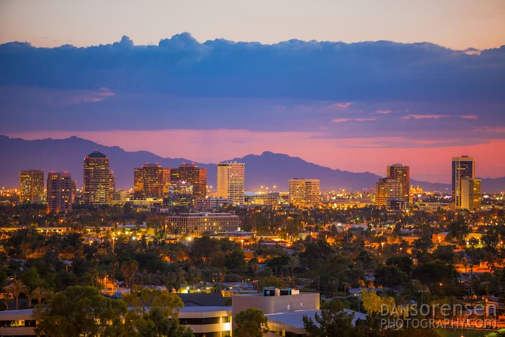 Skyline of Midtown Phoenix where we are located. Central but yet in a quiet and safe neighborhood.