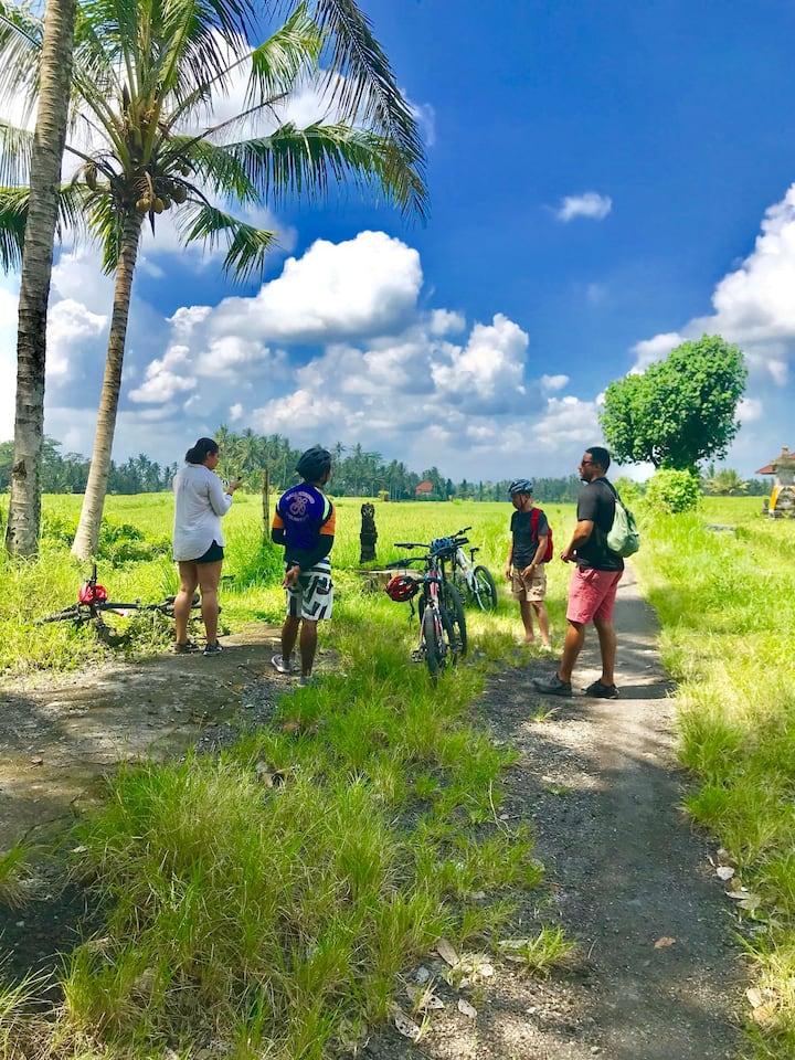 Taking break in the middle of rice field
