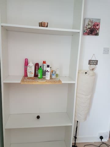 Shelving unit with essentials on and side lamp for a dimmer light.