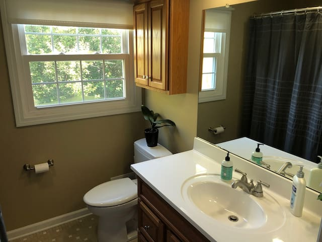full bath off guest room with tub and shower