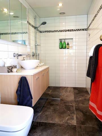 Ensuite bathroom level walk in shower, underfloor heating