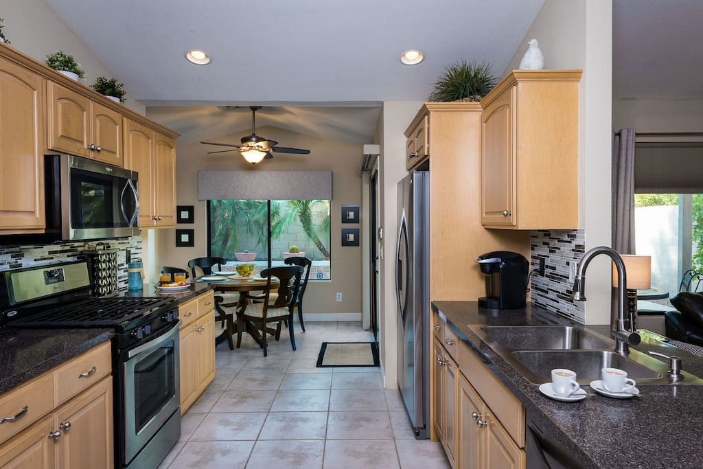 Remodeled kitchen stocked with all you need to cook your own meals!