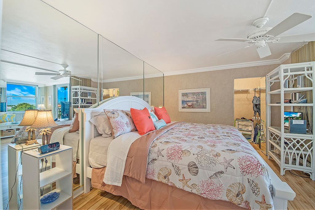King sized bed in sleep area. Closet contains all you would need for the beach. Chairs, umbrella, towels, cooler and wagon to pull them there.