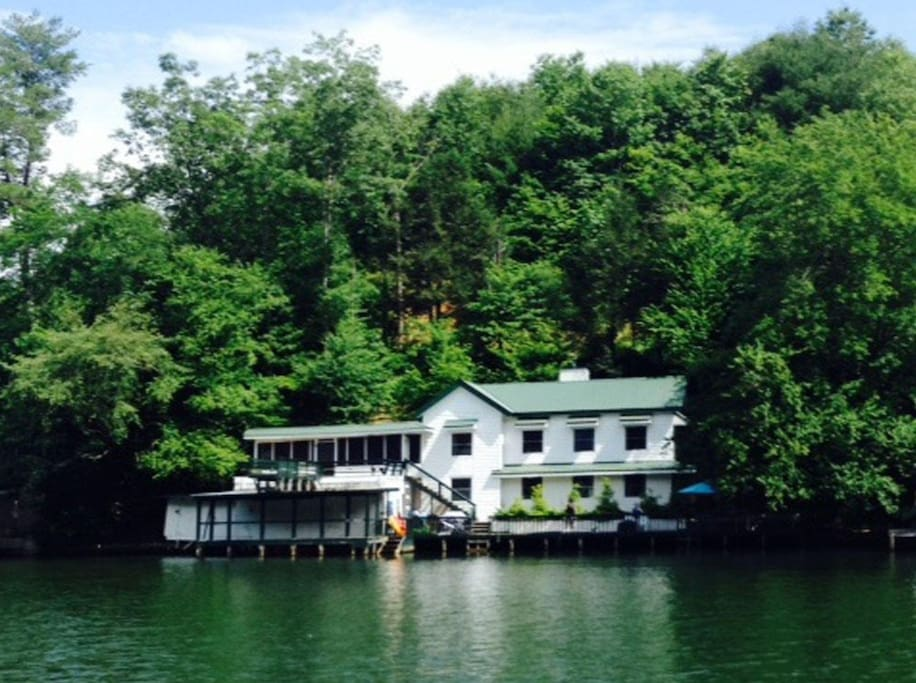 View of the house from the water if you are renting our boat or fancy a long swim!!