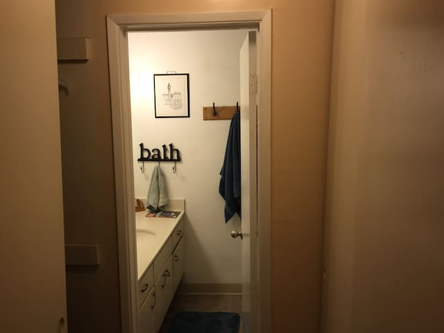 More closet and bath door.