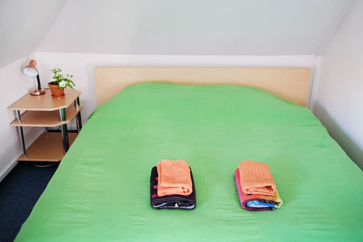 now all our beds have matching green covers