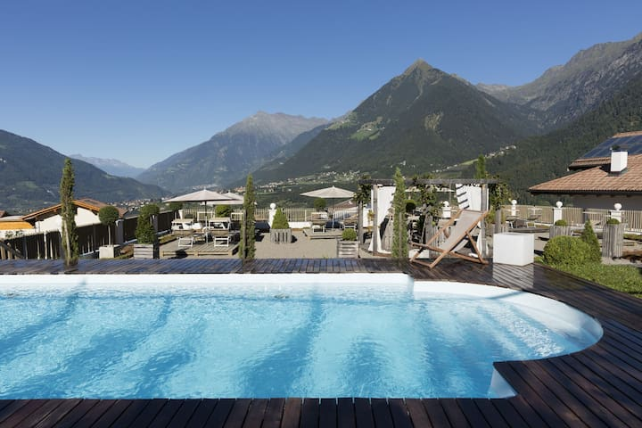 """Charming Apartment """"Landpalais Goyenhof"""" with Mountain View, Lift, Wi-Fi, Pool, Balcony, Rooftop Terrace & Garden; Parking Available"""