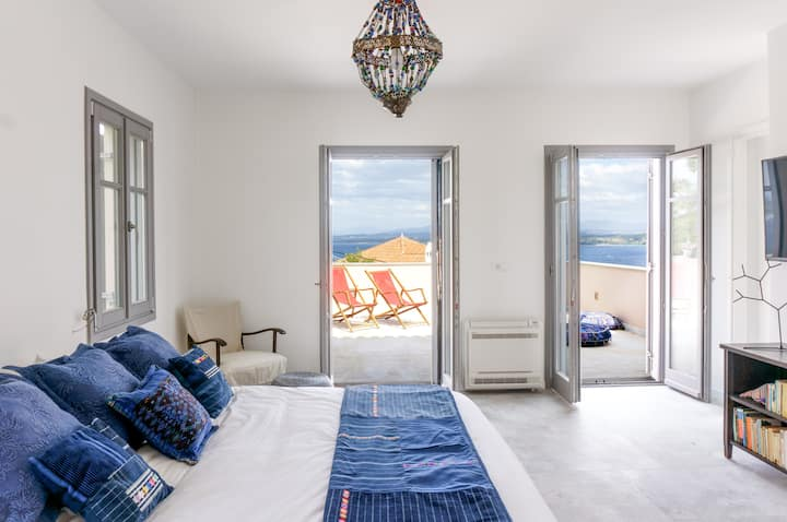 Maison Suisse with panoramic views of Spetses