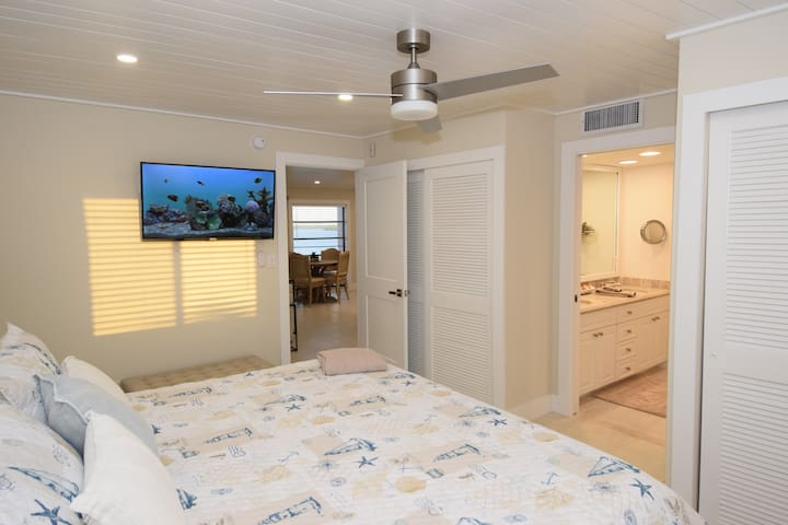 Master bedroom has a brand new  king bedroom set with high quality mattress for great sleep.