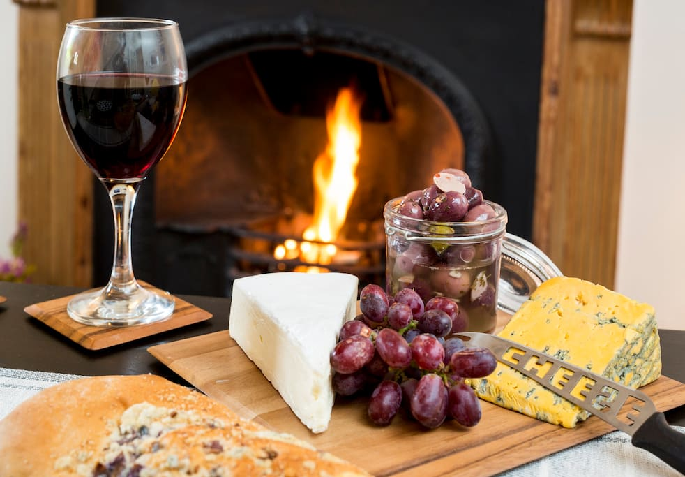 Cheese and wine by an open fire what more could you ask for