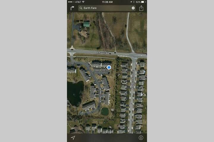 Aerial view of condo complex.