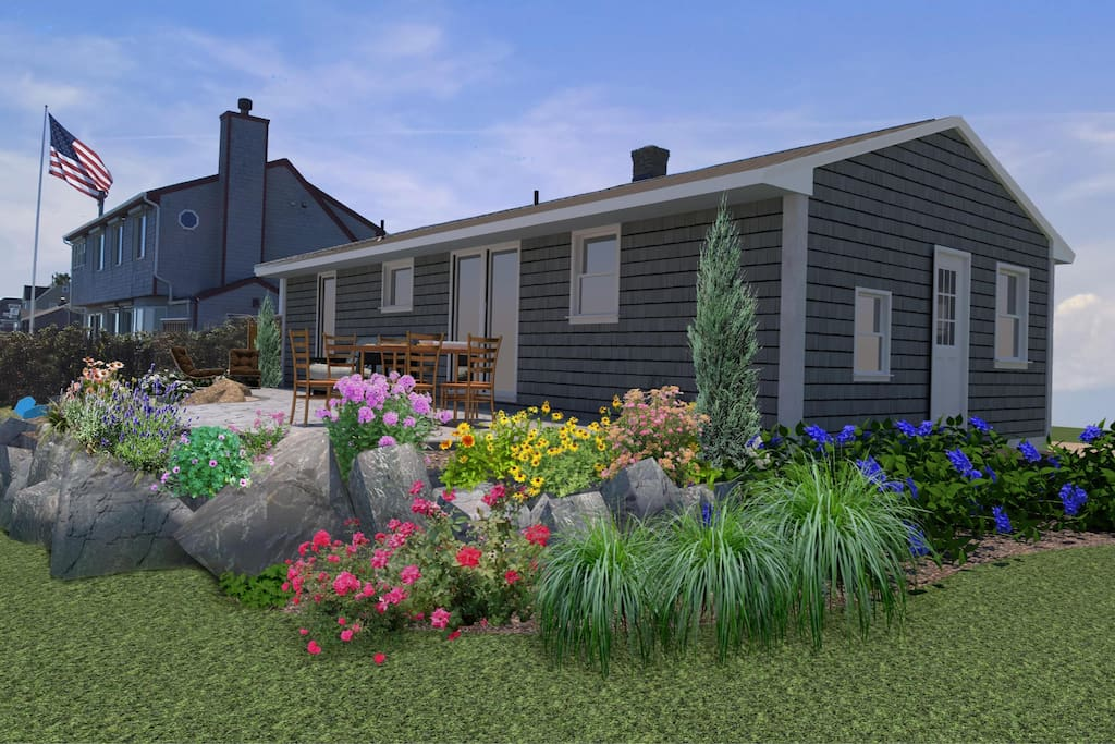 Rendering of new and improved landscaping in progress....ready for summer 2018!