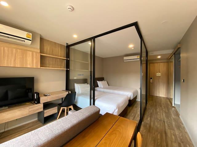 心远居·老码头夜市·舒适两床房/Twin Bed room•Surasak BTS@Sathorn