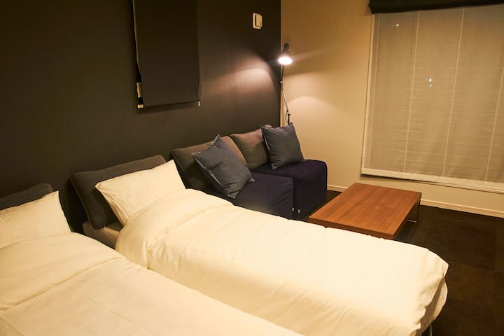 2 single bed with sofa