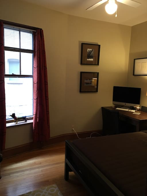 Private room with queen bed and use of computer.