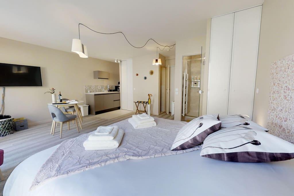 Suite 34m2 avec kitchenette et coin salon (Fibre Internet et TV UHD 49') - Bouteille primée offerte dès deux nuits réservées