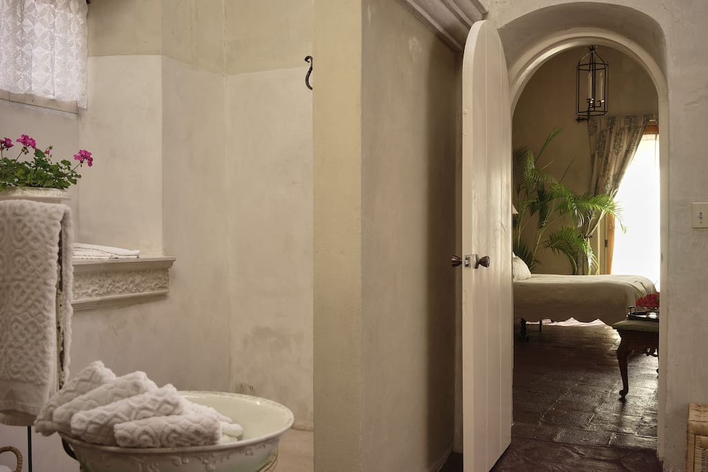 Large bath with walk in shower and fireplace!