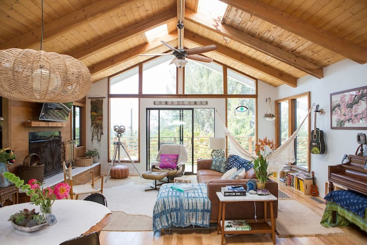 Welcome to our SB bohemian modern tree house!