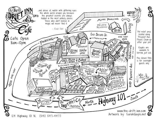 This is a map of the Drift Inn complex; rooms, restaurant, parking areas, walkways and patios.