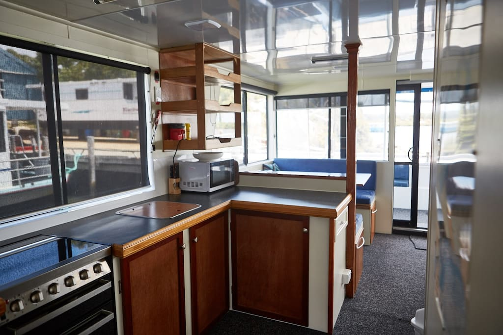 Galley kitchen & dining area