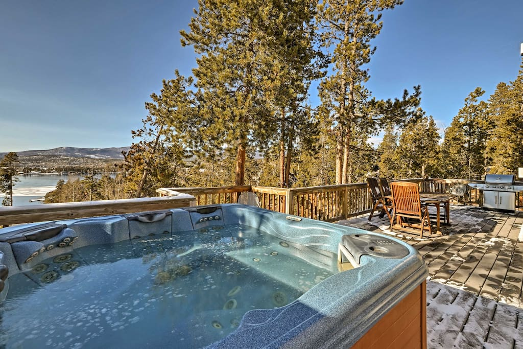 Soak your sore hiking or snowmobiling muscles in the private hot tub.