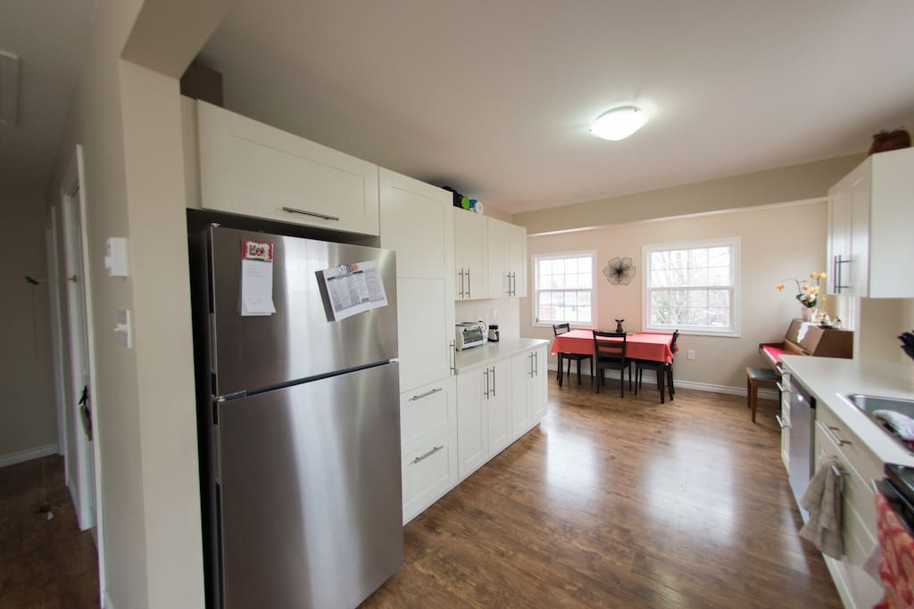 Kitchen that you have 100% full access to. Has all dishwear, cultery and utensils, pots, pans,  blender, crock pot, George Forman Grill, Kurig, toaster oven, etc.