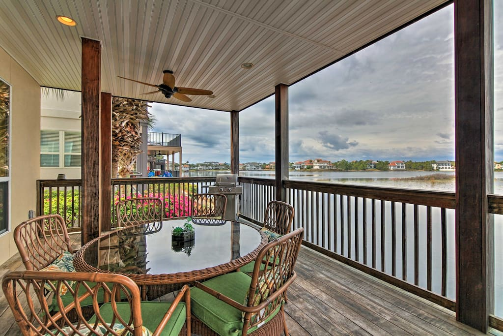 Enjoy the lakefront view from the furnished deck.