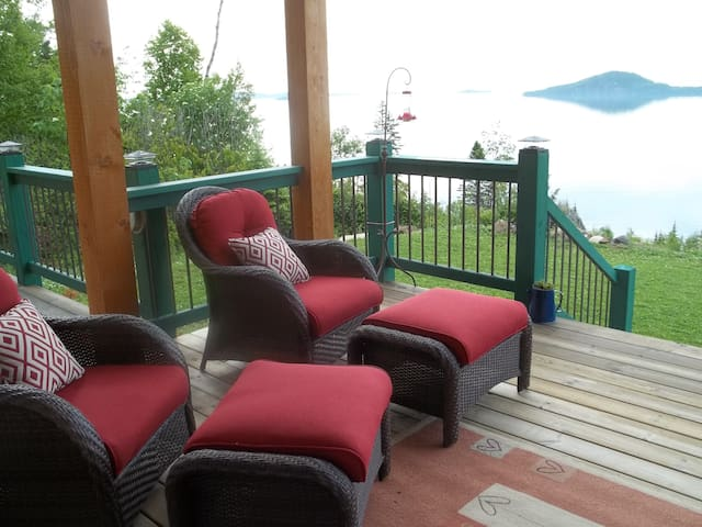Lounge on the front covered deck with Lake Superior view!