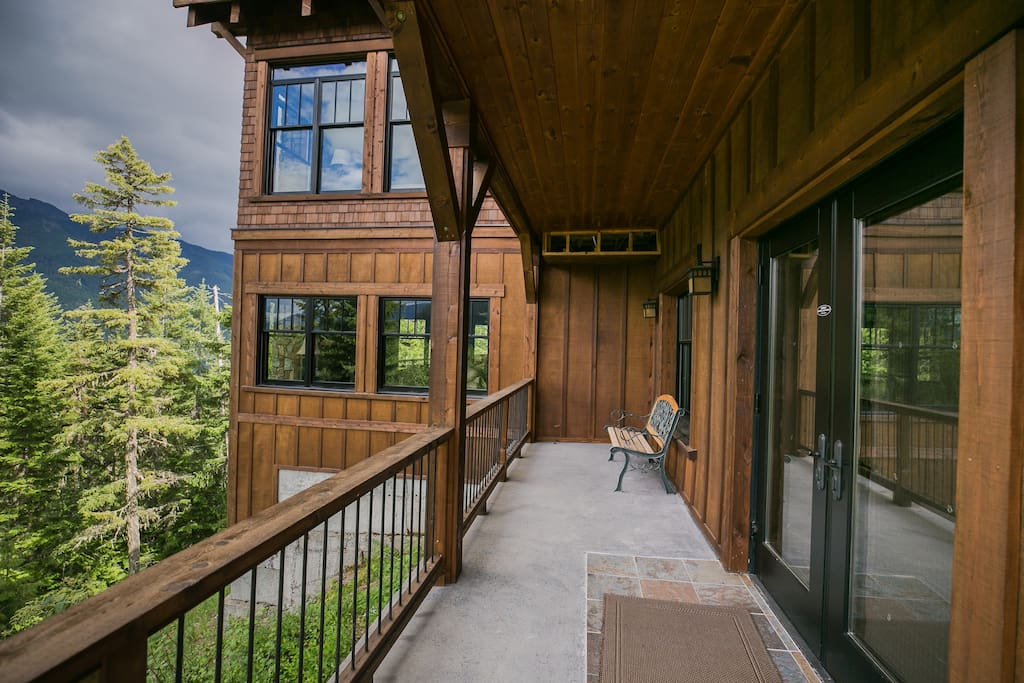French doors leading to master bedroom. Guesthouse is the first floor seen here.