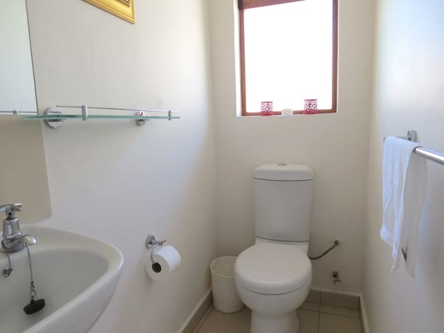 The en-suite bathroom is neat and modern and has a shower, toilet and hand basin