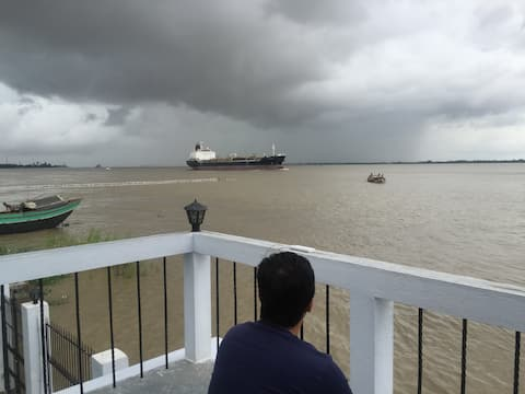 River house on the bank of Hooghly. Mystic, Breezy
