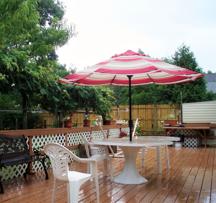 Backyard with deck and BBQ