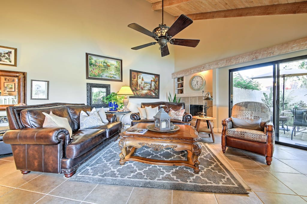 The highly appointed living space boasts comfortable furnishings and tasteful decor.