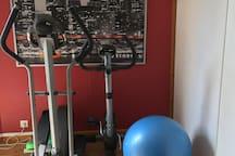 Elliptique, vélo d'appartement, stepper, gros ballon, petit ballon, poids, tapis, élastiques...à disposition.