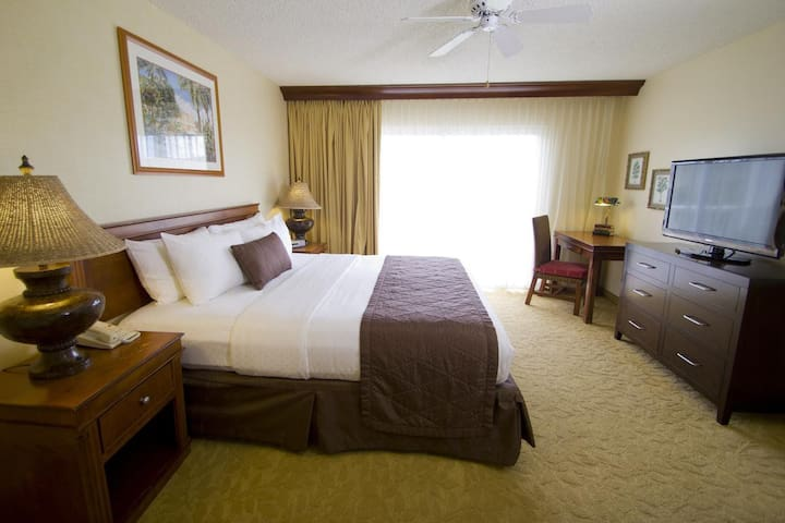 Private bedroom (locking door from kitchen/living area) has a King size bed