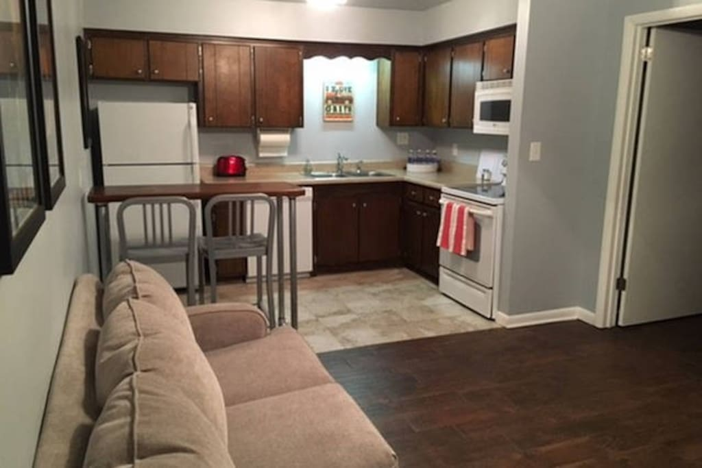 Guests have access to a full kitchen.