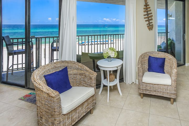 Welcome home! Enjoy your beautiful ocean front view from the balcony, kitchen, living room or bedroom on your new beach inspired furniture.
