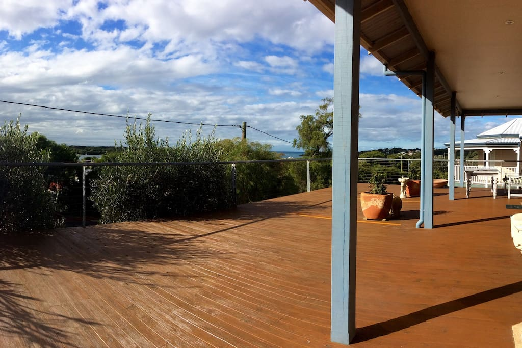 Large balcony with views towards the Blackwood River and the Southern Ocean.