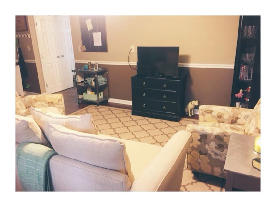 Our home is your home! Relax in our cozy living room. Xbox, Chromecast, and wifi are all included! Not to mention numerous books, movies, and games to keep you entertained