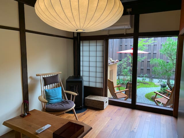 Viewing Japanese Garden from Living Space.