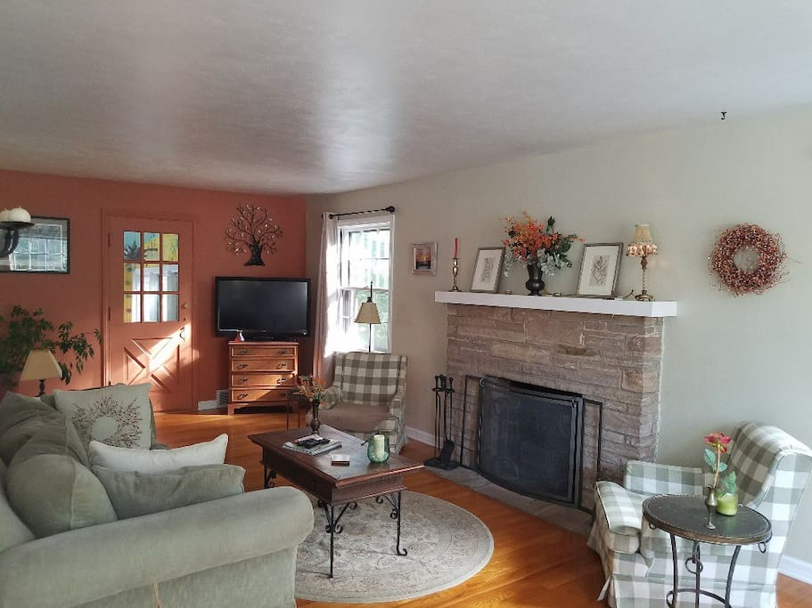 Cozy, sunfilled living room with TV and fireplace